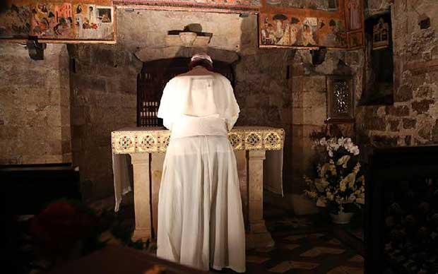 Papa Francesco alla Porziuncola di Assisi