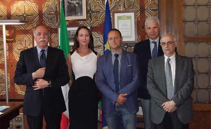 Il prefetto Salvatore Mulas, l'ispettrice Jacqui Gillespie, l'ufficiale Antonio Berlanga, ed i relatori Pasquale Marchetto ed Antonio Mazzei