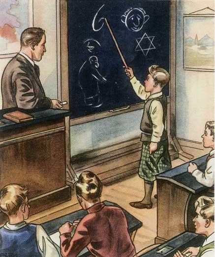 """Lezione a scuola sui tratti distintivi degli ebrei: illustrazione dal libro """"Il fungo velenoso"""" (1938)"""