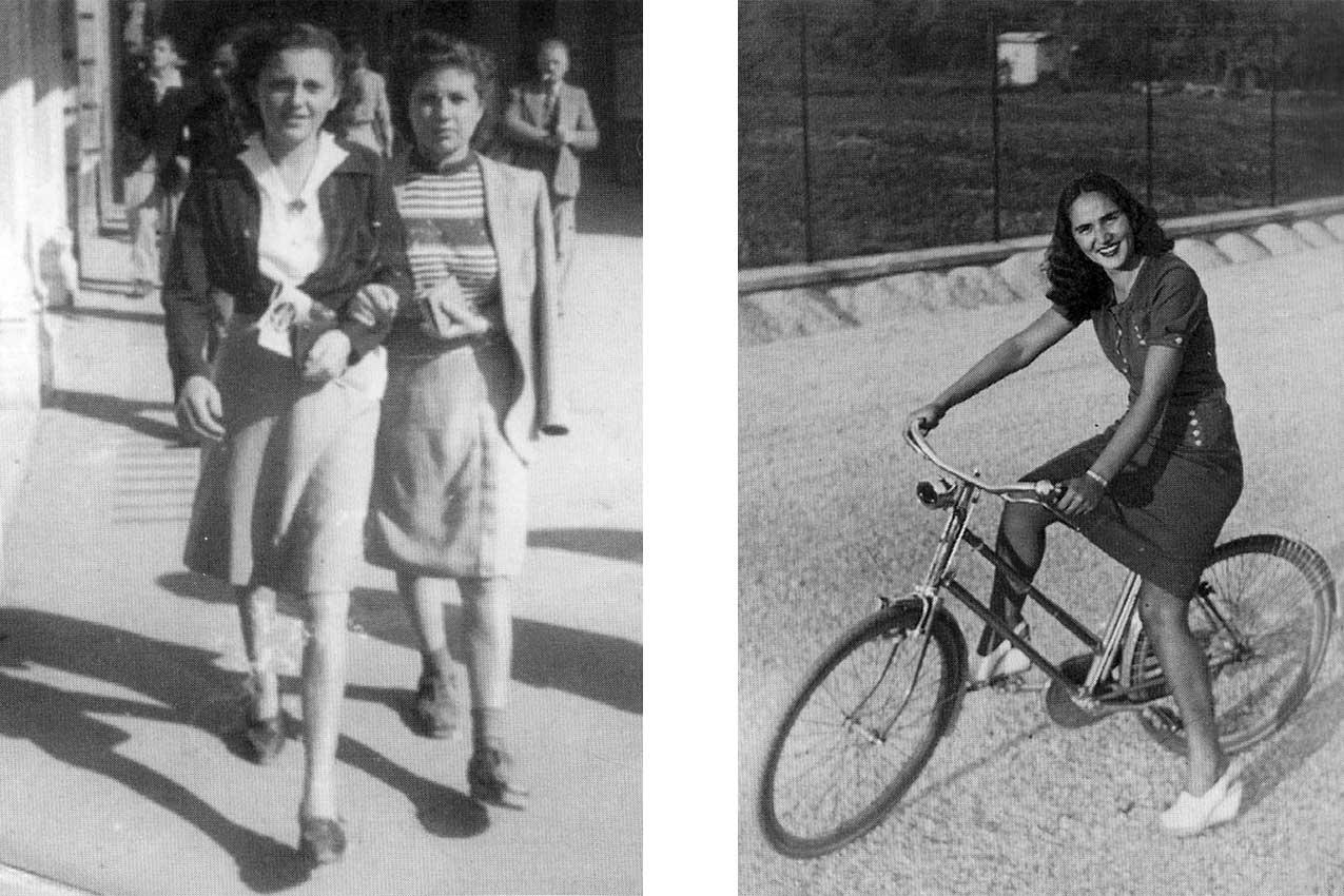 Da destra: Matilde Lenotti, in bicicletta, e Flavia Mazzali con un'amica