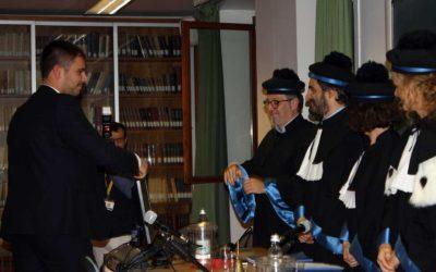 Davide Simonella il giorno della laurea magistrale all'Università di Verona.