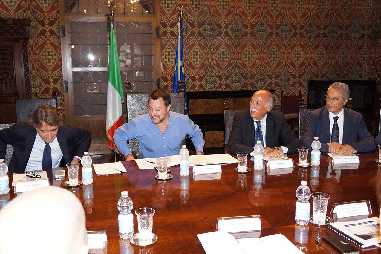 Comitato provinciale per l'Ordine e la Sicurezza Pubblica con Matteo Salvini, 15 luglio 2018