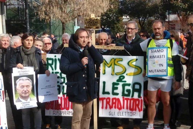 Proteste dei lavoratori truffati dalla Banca Popolare di Vicenza