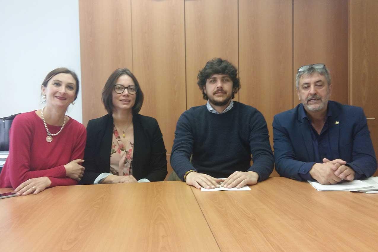 Marta Vanzetto, Elisa La Paglia, Tommaso Ferrari, Mauro Bonato alla conferenza stampa contro il Congresso mondiale delle famiglie