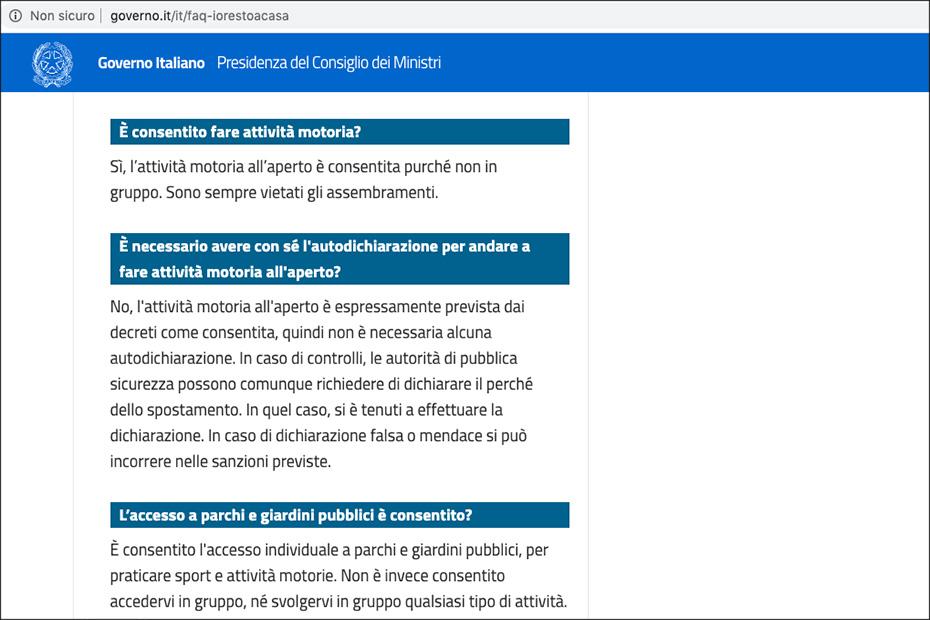 IoRestoaCasa, la faq sul sito del Governo italiano