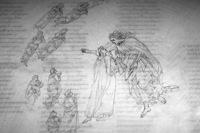 Dante e Beatrice in Paradiso, disegno di Botticelli in mostra alla GAM